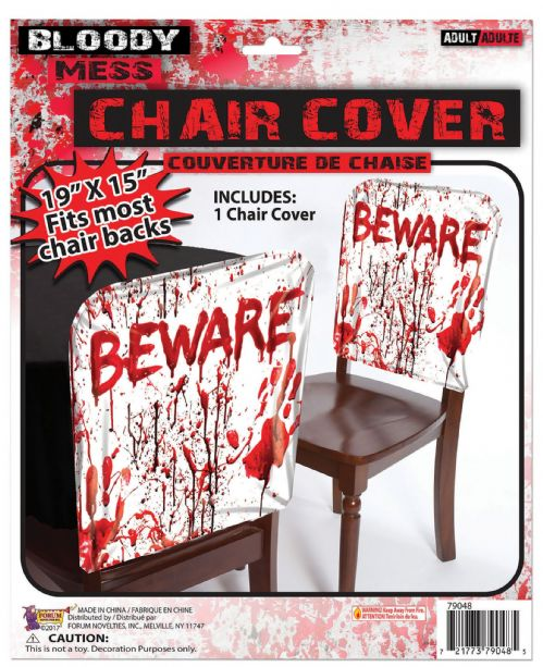 "Bloody ""Beware"" Chair Cover Halloween Party Party"